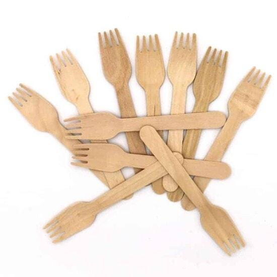 Holzgabel Einwegbesteck Küchen Eleganz Gabel 50 Stück